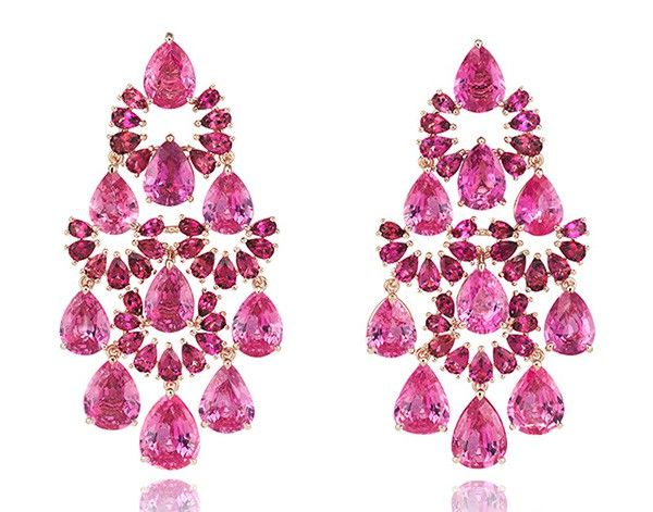 Earrings in 18k rose gold with 28.3ct pink sapphires and 5.9ct rubellites, from the 2016 Chopard Red Carpet collection.