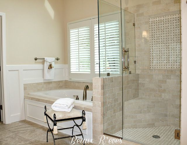 crema marfil shower | The 3X6 Crema Marfil marble tiles were laid in a staggered brick ...