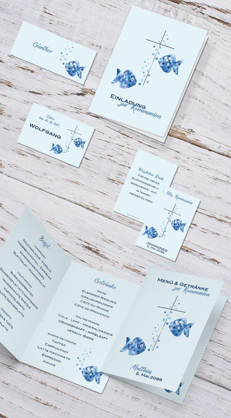 #Kommunion #Konfirmation #Firmung #Erstkommunion #Einladungen #Tischkarten #Menükarten #Gastgeschenk #Einladungskarten #Fisch #blau