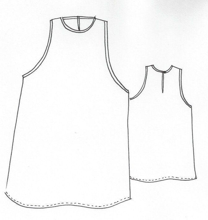 RubyDress/Top - this simple sleevelesstop/dress features a high neckline, cutawayar...