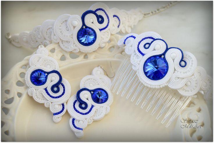 #sutasz #soutache #ślub #ślubnedodatki #szafir #biel #miliart #sutaszmili #rękodzieło #handmade #biżuteria #jewelery https://www.facebook.com/SutaszMili