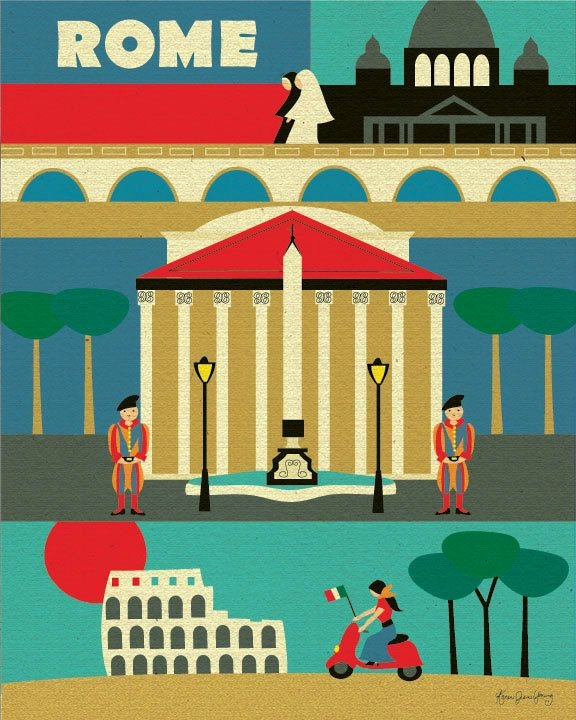Rome, Italy Illustration Collage - European Travel Poster Print Art for Home, Office, Nursery - style E8-O-ROM. $19.99, via Etsy.