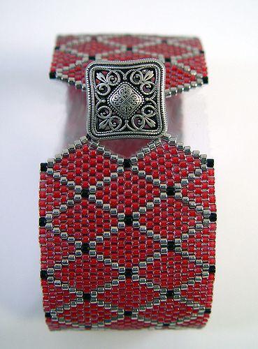 Lattice Cuff | ARoseByName Design. Brick stitch with Delica beads.