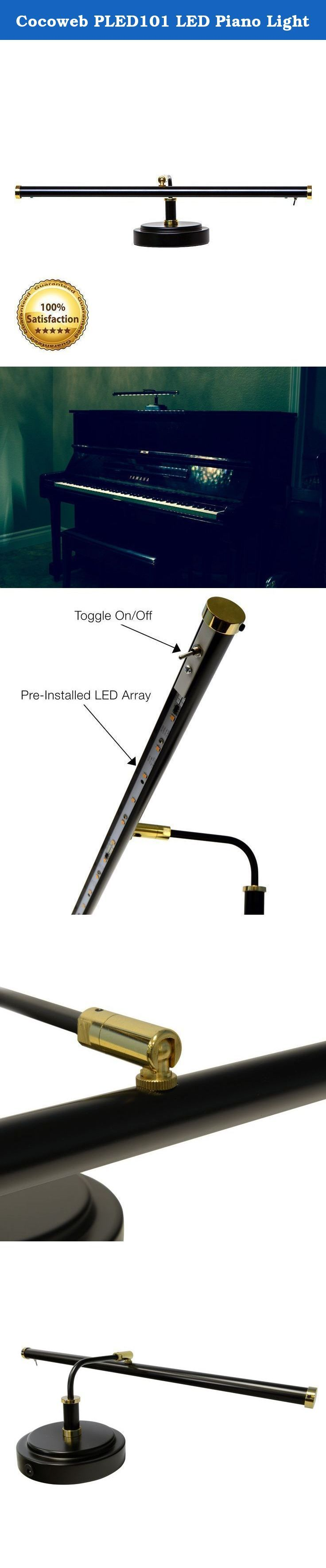 """Cocoweb PLED101 LED Piano Light. Specifically designed for upright pianos, cocoweb's PLED101 piano lamp is an elegant answer to modern piano lighting. This 19"""" lamp displays the classic craftsmanship of a time-honored traditional piano lighting, as alive today as the love for music. And Cocoweb improves upon classic design with the latest LED lighting technology, creating one of the most advanced lamps on the market today. Elegant style each Cocoweb piano lamp is rolled, polished, buffed..."""