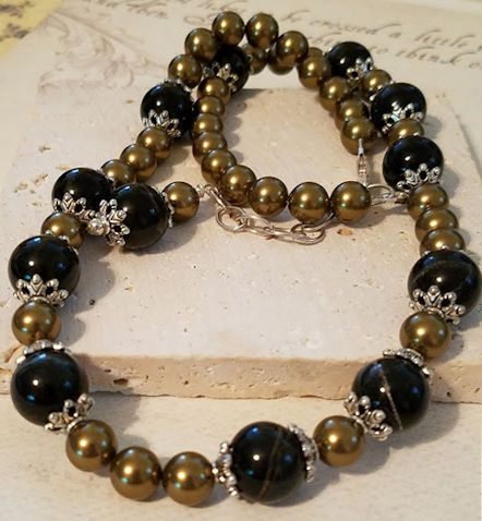NK2322 Blue Tiger Eye & Swarovski Pearl Necklace - www.LynnLeighDesigns.com