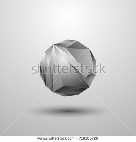 Polygonal 3D abstract sphere. Gray molecule symbol on a gray background.