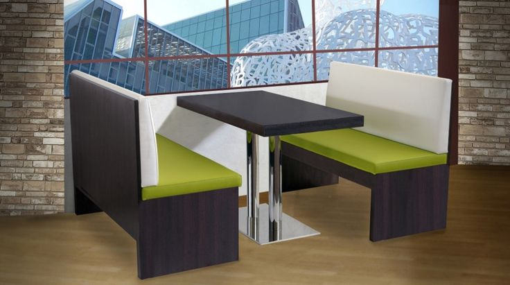 Bench set 210. Multi-layered laminated benches with eco-leather seat and backrest. Set panche 210. Panche in multistrati rivestite in laminato con sedili e schienali in ecopelle.