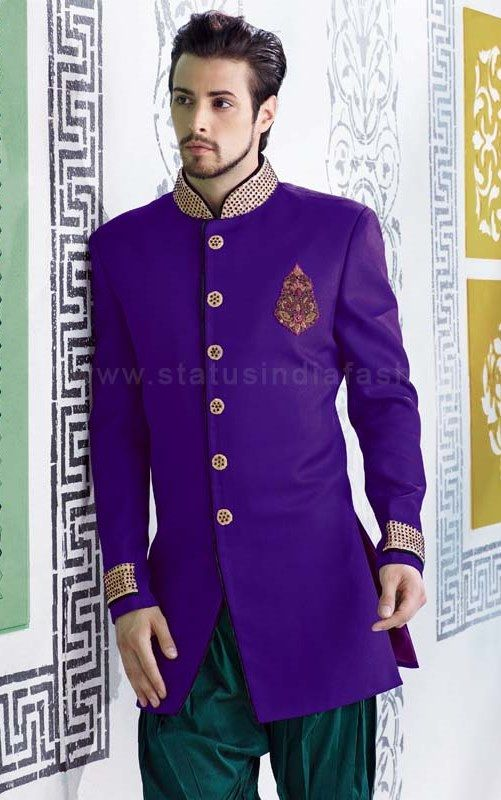 sherwani for men, sherwani uk, Asian clothes, purple sherwani, Indian sherwani, sherwani indo western, mens wedding sherwani www.statusindiafashion.com