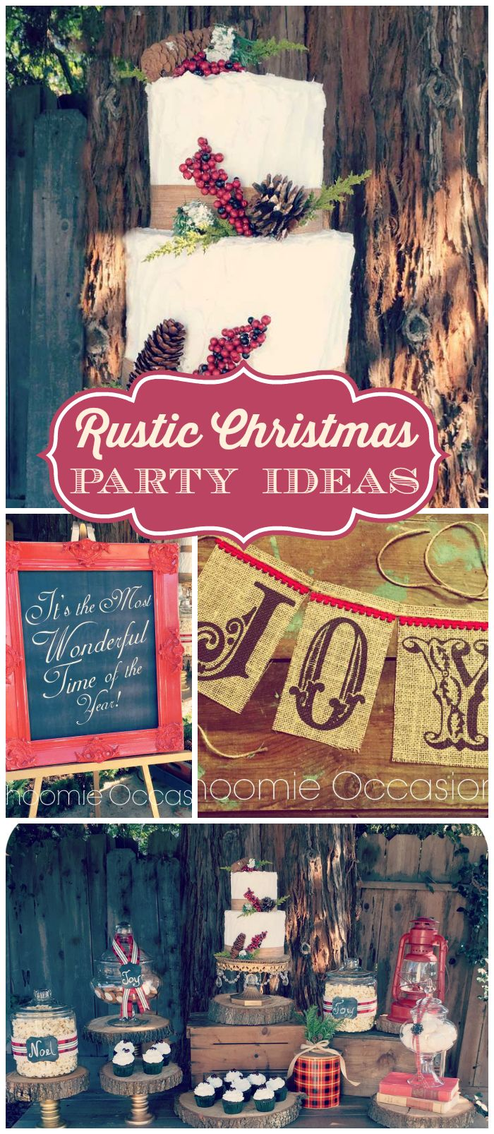 Rustic christmas party decor - A Gorgeous Outdoor Rustic Christmas Party With Red And Plaid Accents See More Party Planning