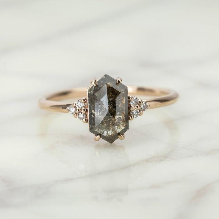 1.22 Carat Black Speckled Hexagon Petite Quinn Engagement Ring 14k Rose Gold