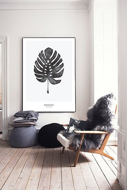 Monstera, Cheese Plant Leaf - PRINTABLE FILE. Tropical Leaf Printable Poster.Exotic Leaf Print. Monochrome Art. Nordic Minimalist Print. Scandinavian:
