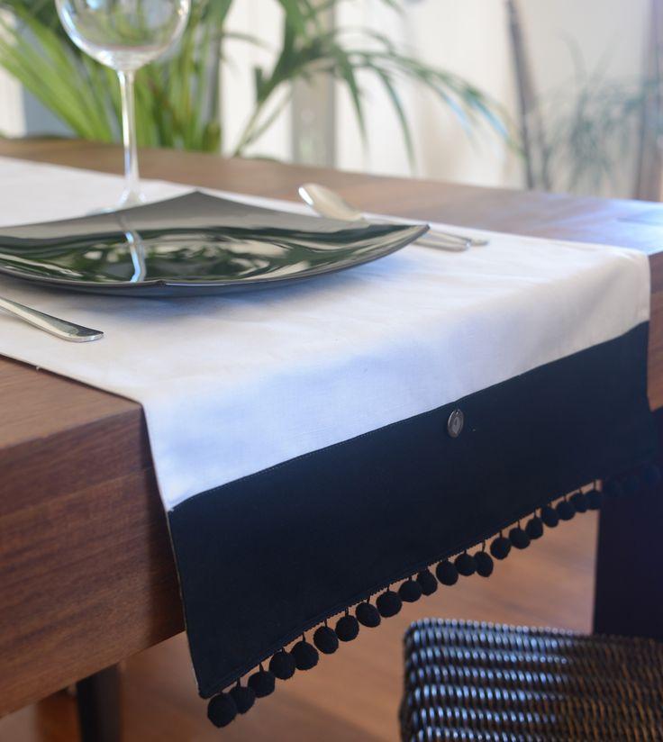 Camino de mesa lino ANFA blanco con borlones