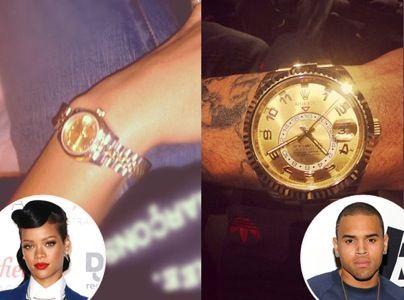 Rihanna and Chris Brown's matching Rolex Watches #rolex #rolexwatches #rolexwatch #thewatchmen #thewatchmenllc #ladiesrolex #mensrolex #rihanna #chrisbrown #rihannaandchrisbrown #daydate2 #celbrities #famous #bling #watches