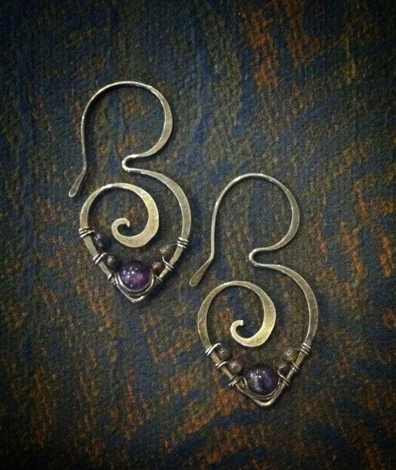 Amethyst and purple aventurine wrapped in sterling silver swirl hoop Gypsy Lotus earrings