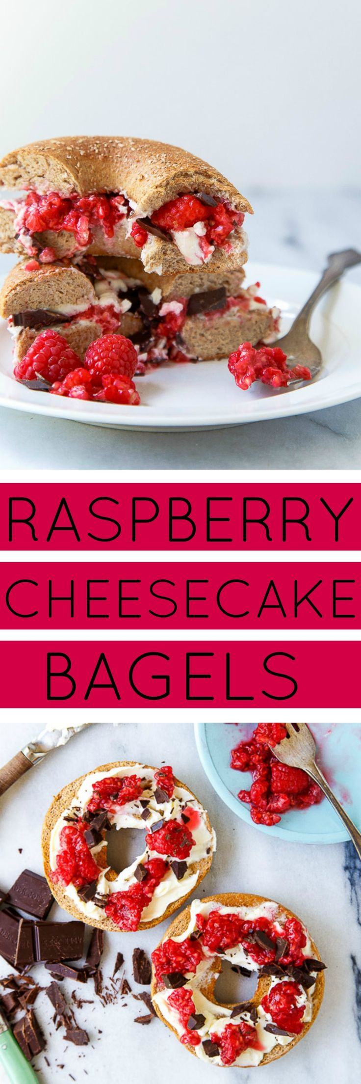 Cheesecake for breakfast! Healthy raspberry cheesecake breakfast bagels!