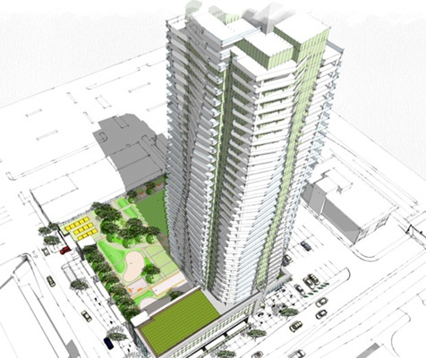 A proposal in Delta would see a 37-storey residential building go up near the Scott Road area along 80th Avenue.