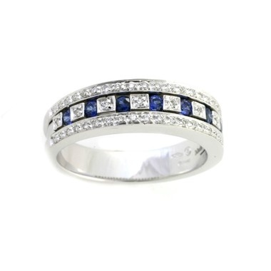 Belle Epoque Collection by Damiani, Blue Sapphire and Diamond Ring, in 18kt White Gold (