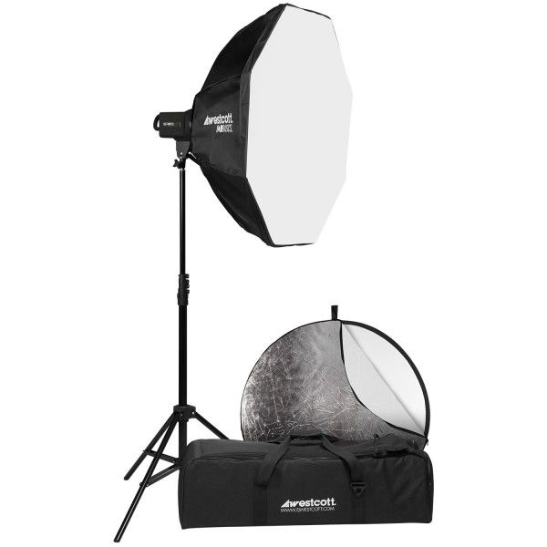 """$429.90 for a powerful strobe kit that includes a pro light stand, 32"""" Octabox softbox, a 5-in-1 reflector, and a carrying case with hold-your-hand education available for it online. An inexpensive yet quality way to get started with strobe light!"""