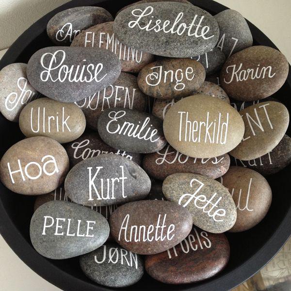 Navne på alle i gruppen. (Finde stenene på Fjellerup Strand. Tænker evt. man selv skriver sit, når man sætter sig fredag aften og lægger dem i en form for beholder)