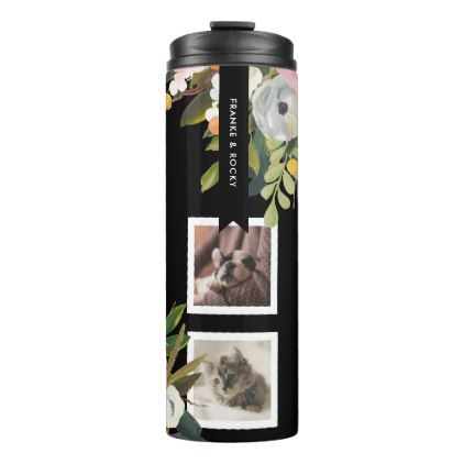 Painted Floral Collage Personalized Pet Photo Thermal Tumbler - photos gifts image diy customize gift idea