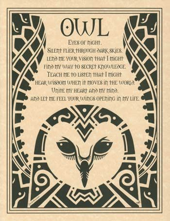 Embracing the spirit of the owl, this poster depicts a poetic prayer to the…