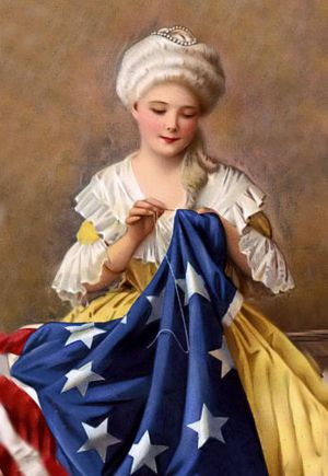 Betsy Ross is renowned as the person to have sewn the first American flag. She was born Jan 1, 1752 and died Jan 30, 1836. The stars stood for the first thirteen colonies.