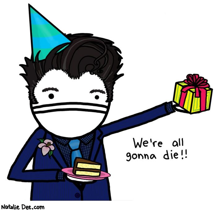 Comic by Natalie Dee: dont invite morrissey to your birthday party