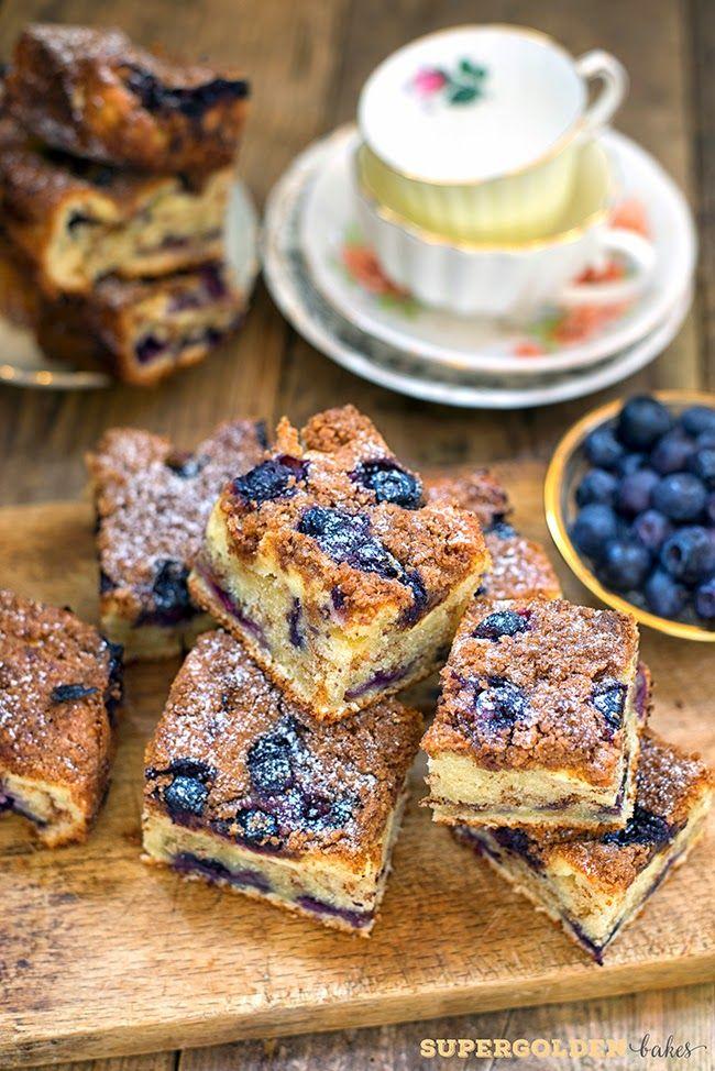 Gloomy weather antidote: Blueberry Cheesecake Crumb Cake | Supergolden Bakes