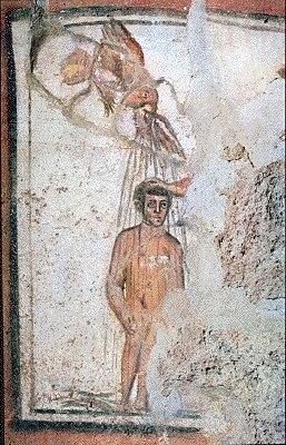 The Baptism of Christ.  ***Bautismo de Cristo. Catacumba de los Santos Pedro y Marcelino, S.III. Roma. Cristo con rasgos de niño recibe las aguas del Espíritu Santo (también puede encontrarse la mano de Dios o San Juan) en forma de paloma, configurando de forma esquemática la narración de la teofanía.
