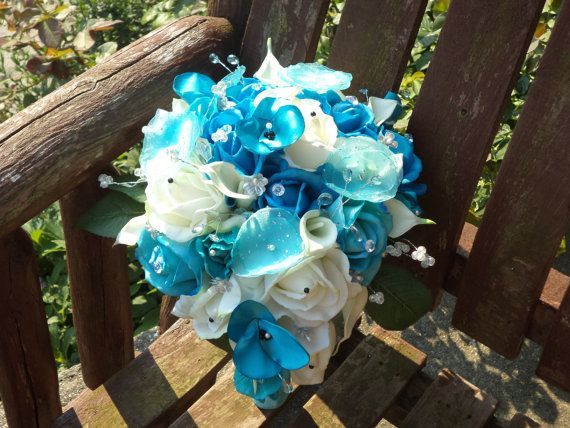 Real Touch White Rose and Tiffany Blue Silk Cascading by mtfloral, $175.00