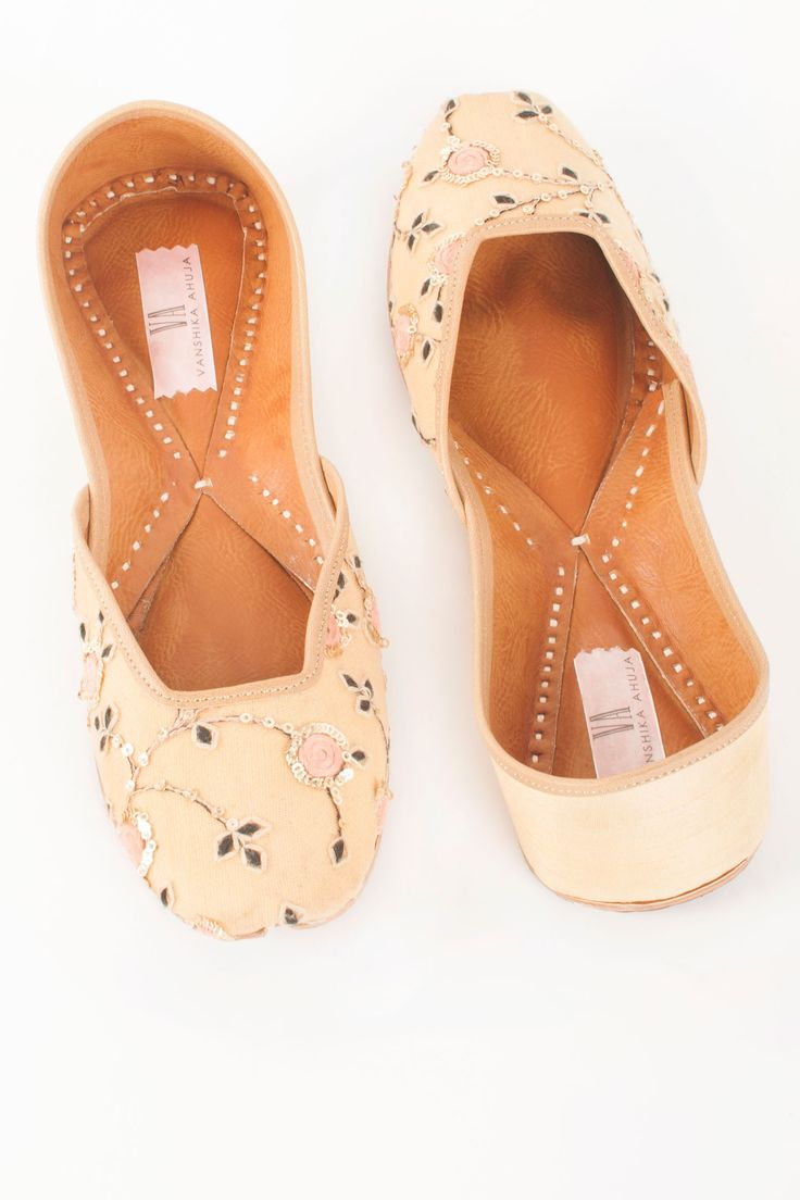Golden Blush Juttis by Va by Vanshika. Shop now: http://www.onceuponatrunk.com/designers/va-by-vanshika #blush #beige #nude #juttis #shoes #accessories #shopnow #vabyvanshika #onceuponatrunk