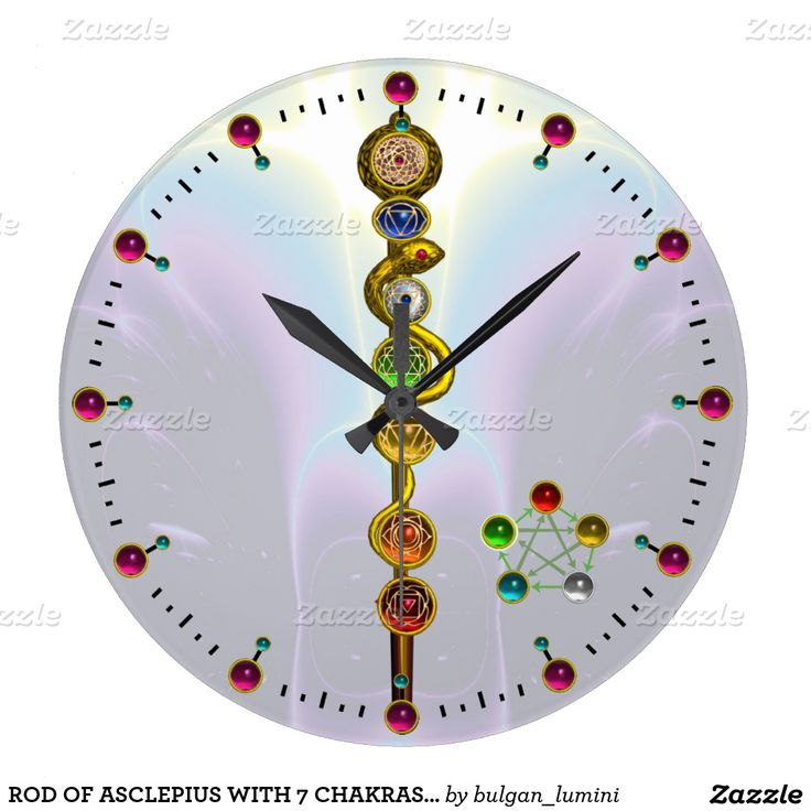 ROD OF ASCLEPIUS WITH 7 CHAKRAS ,SPIRITUAL ENERGY WALL CLOCK