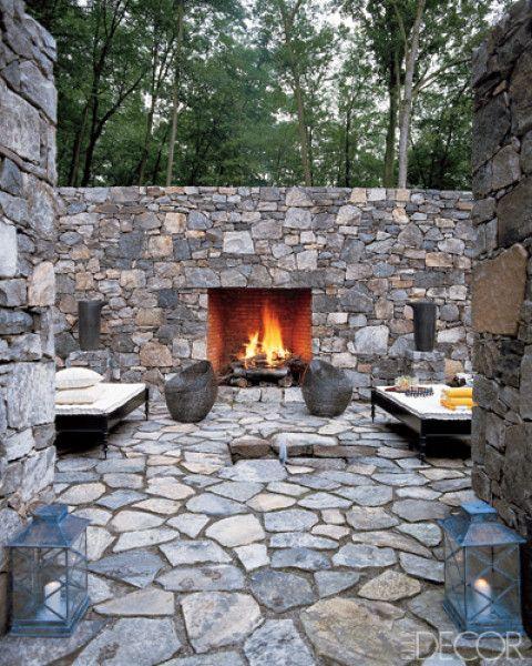 terrace stone wall fireplace