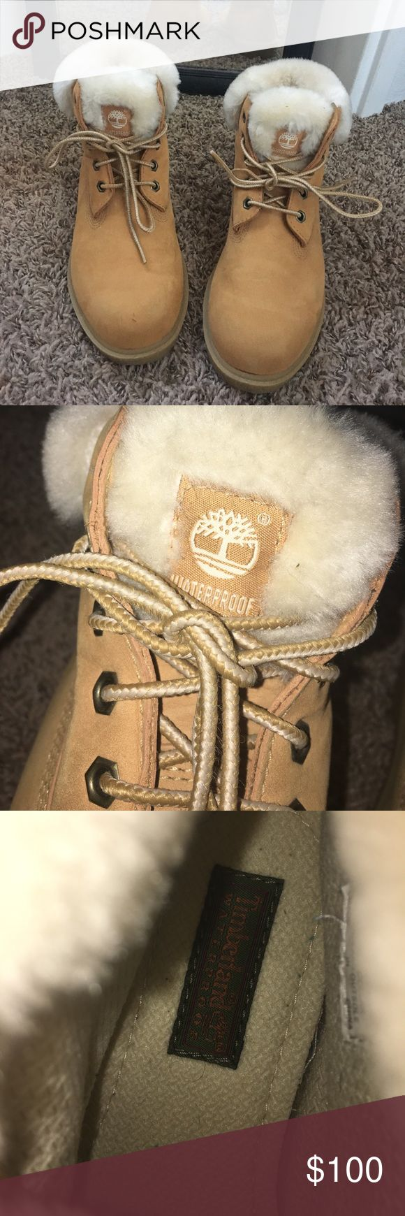 Only worn once timberland boots Original tan color has white fur on the top of the boot water proof never worn original shoe laces. ( US SIZE 3) UK SIZE 2.5 EU SIZE 35 Timberland Shoes Winter & Rain Boots