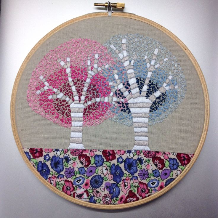 Ombré trees hand embroidery by Corinne Sleight 2015