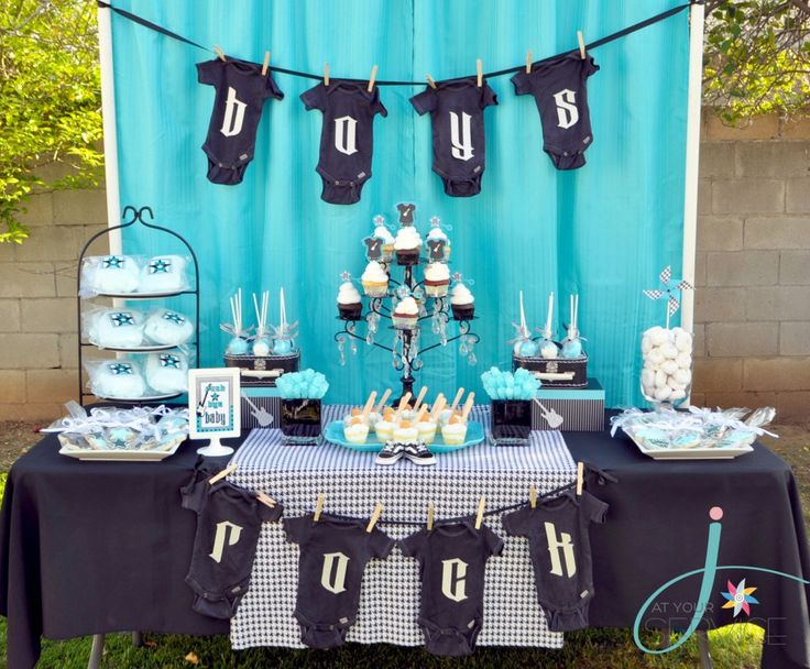 Rock a Bye Baby Dessert table - #babyshower: Showers, Shower Ideas, Baby Shower Theme, Bye Baby, Parties Ideas, Baby Boys Shower, Rocks, Boys Baby Shower, Baby Shower