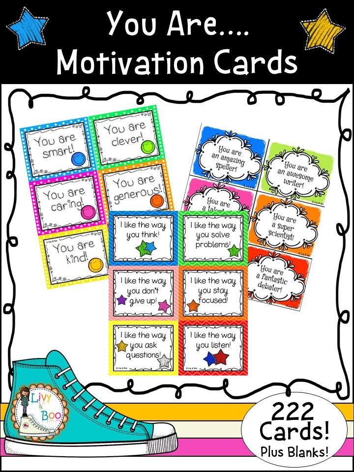 In this pack you will find 222 positive & motivating comment cards to encourage your students to do their best and spread a little kindness. These cards cover behavior, attitude, learning achievement, work ethic, respect, positive personality traits and general characteristics.  Also includes 24 blank cards.
