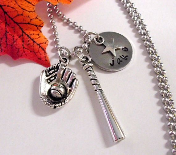 Personalized Baseball Necklace Baseball Jewelry by CharmAccents, $22.00