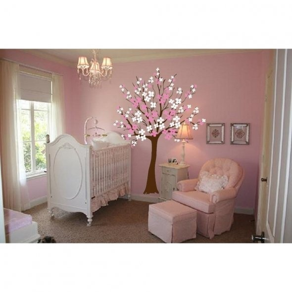 cherry blossom wall decal for baby's room omg I love this room