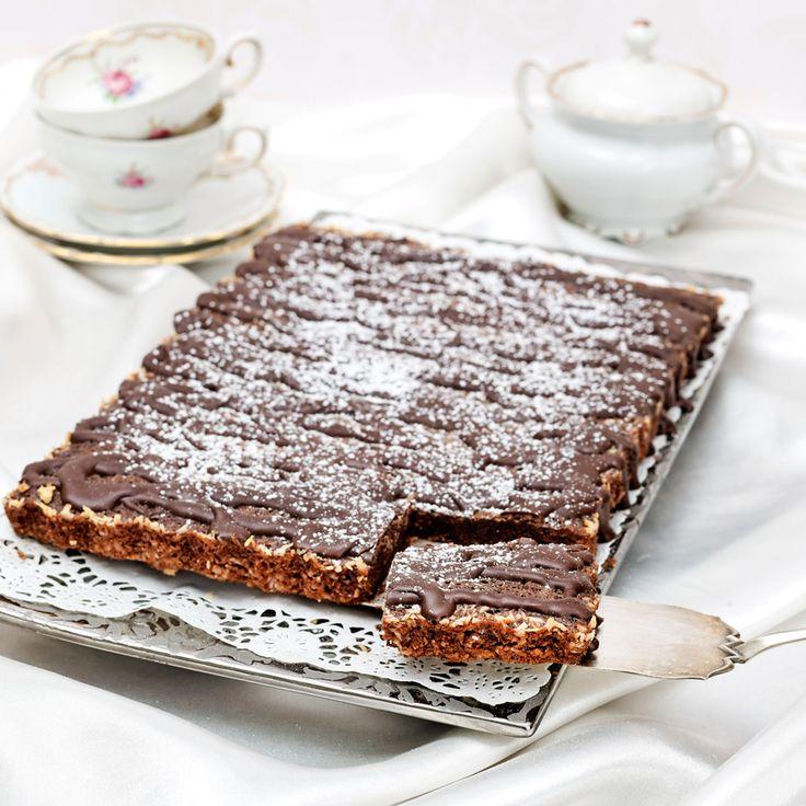 Kladdkaka med täcke av mörk choklad