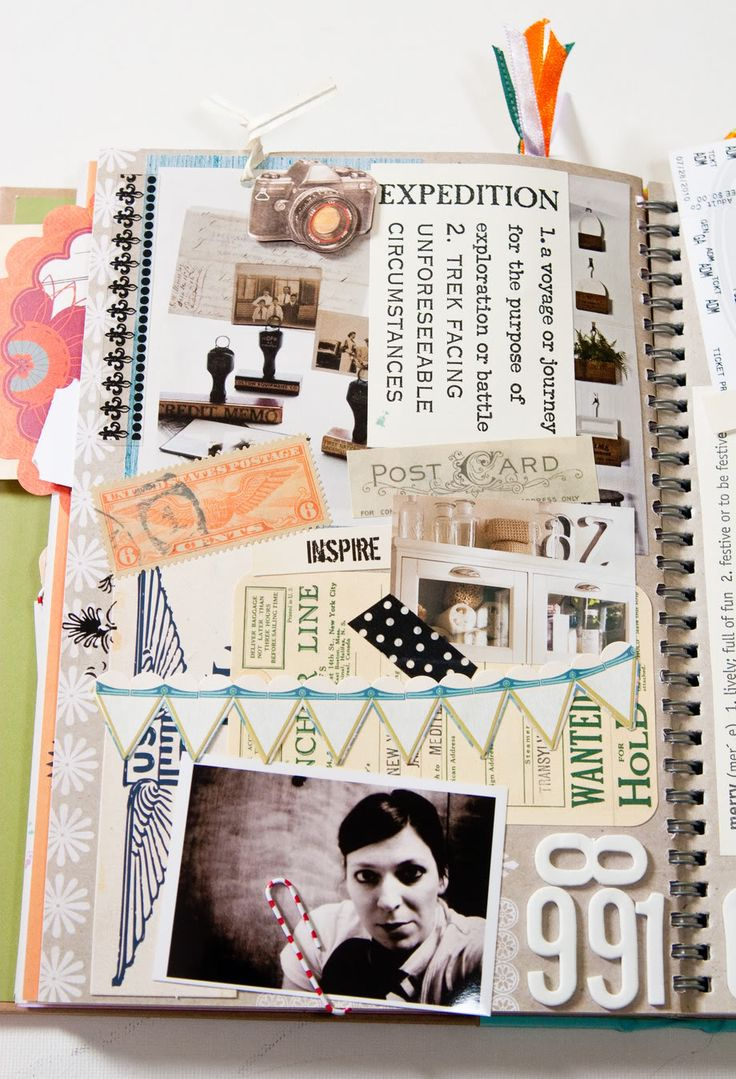 smash books - this exact idea can be done in a regular spiral notebook as well.  My daughter has been doing this for about eight years - she will either decorate the cover or leave it plain.