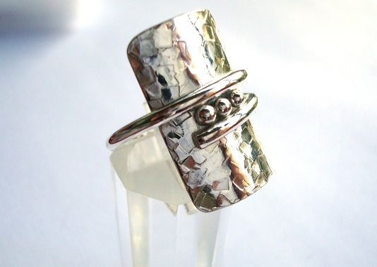 Ring   Kathy from Working Silver. 'Show off the Band'.  Sterling silver with patina