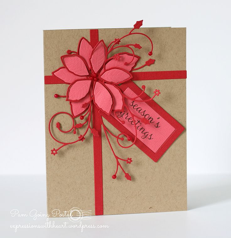 Memory Box NEW Gift Wrapped Poinsettia Two Ways