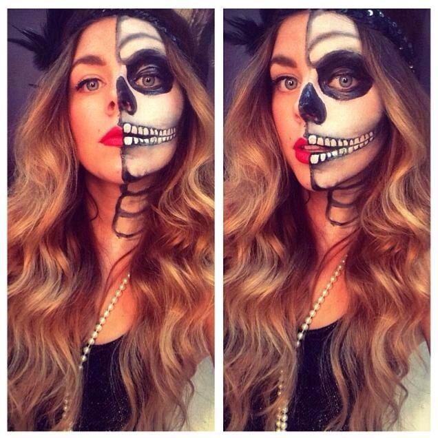 Half skeleton face makeup for Halloween!