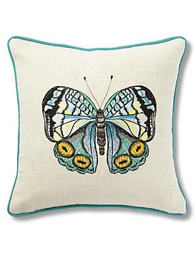 Neutral Mini Embroidered Butterfly Cushion