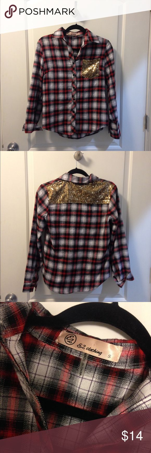 Long Sleeve Flannel w/ Sequin Detailing ONLY WORN ONCE •• PINK LILY BOUTIQUE          Red & Black Flannel w/ Gold Sequin Detailing Pink Lily Boutique Tops Button Down Shirts