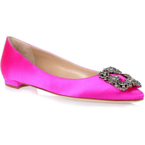 Hangisi Flat Hot Pink Satin Ballerina (12.817.930 IDR) ❤ liked on Polyvore featuring shoes, flats, pink, ballerina flats, ballet flats, ballet shoes, pink ballet shoes and ballet flat shoes