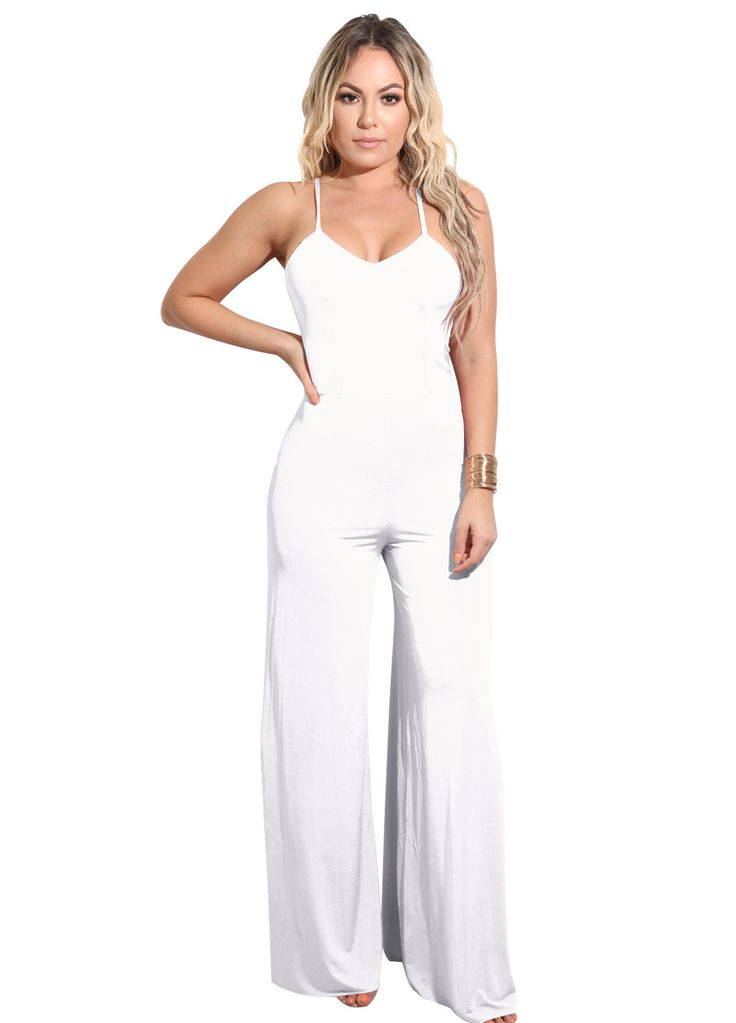 Strappy Open Back Wide Legs Jumpsuit_Jumpsuit & Rompers_Women Clothes_Sexy Lingeire | Cheap Plus Size Lingerie At Wholesale Price | Feelovely.com