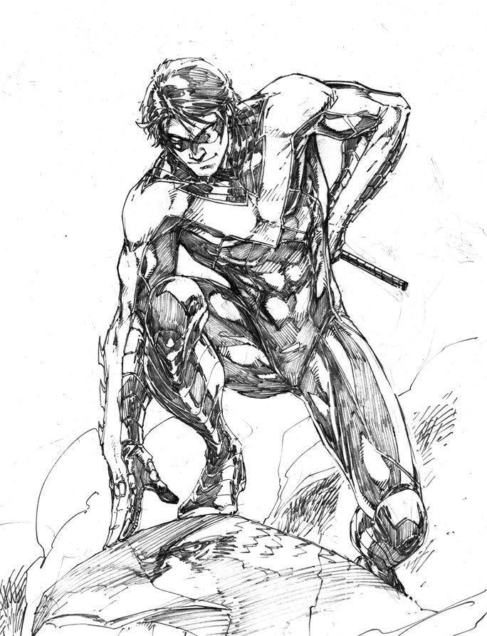 nightwing comic drawings  batman robin batgirl dc comics
