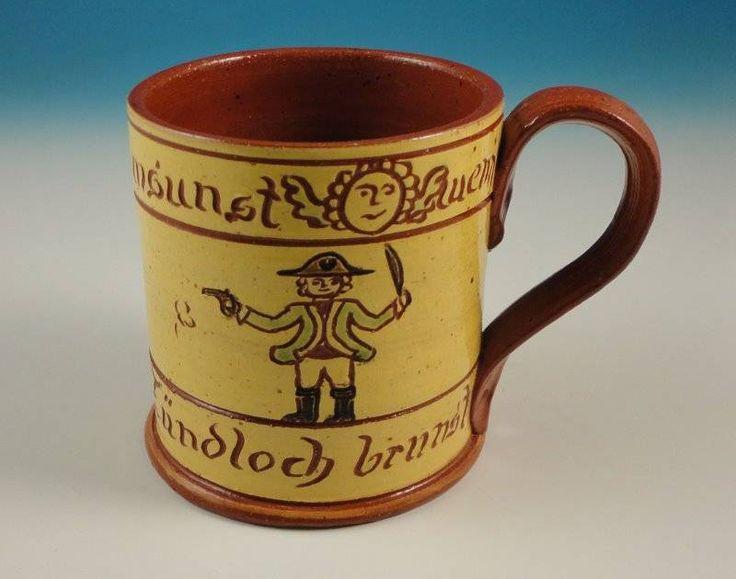 Dorothy Long Redware Pottery Pennsylvania Dutch German Folk Art Mug Sgraffito NR #PennsylvaniaGerman